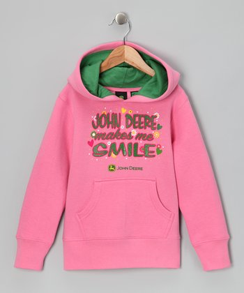 Pink 'John Deere Makes Me Smile' Hoodie - Girls