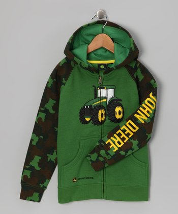 Green Camo Tractor Zip-Up Hoodie - Boys