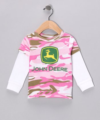 Pink Camouflage Logo Layered Tee - Toddler