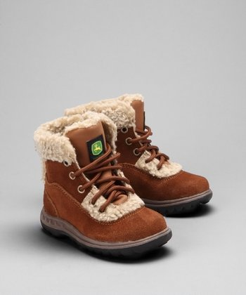 Rust Faux Shearling Boot - Kids