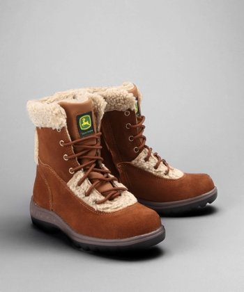 Rust Faux Shearling Tall Boot - Kids
