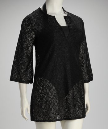Black Lace Plus-Size Cover-Up
