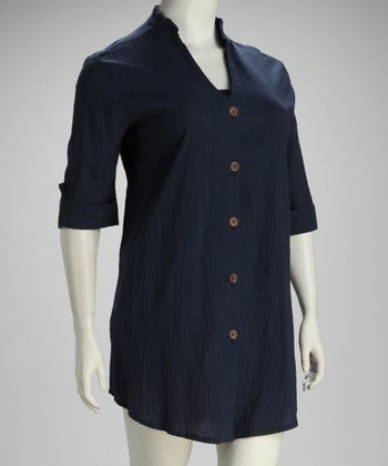 Navy Button Plus-Size Cover-Up