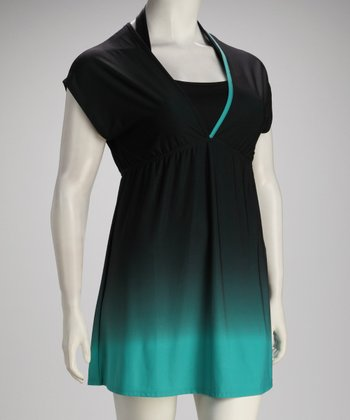 Green Ombré Plus-Size Cover-Up