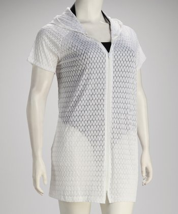 White Mesh Hooded Plus-Size Cover-Up