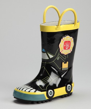 Black & Yellow Fireman Rain Boot