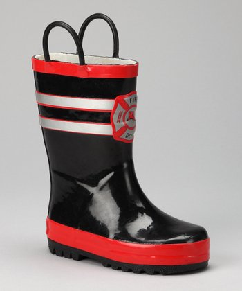 Black & Red Fireman Rain Boot