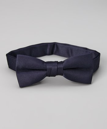 Navy Ribbon Bow Tie