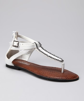 White Triple-Strap Gladiator Sandal