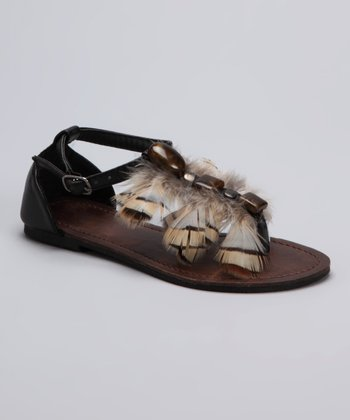 Black Feather Sandal