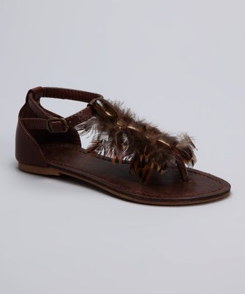 Brown Feather Sandal
