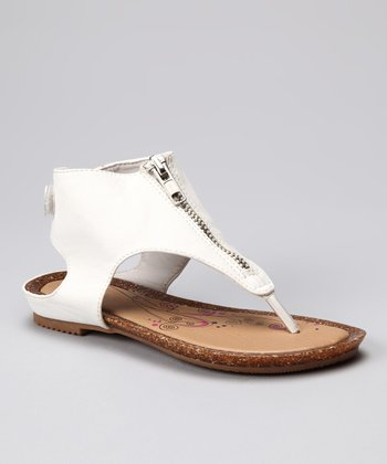 White Zipper Sandal