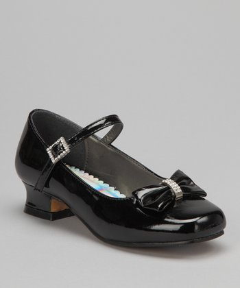 Black Sparkle Bow Patent Mary Jane