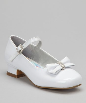White Sparkle Bow Patent Mary Jane
