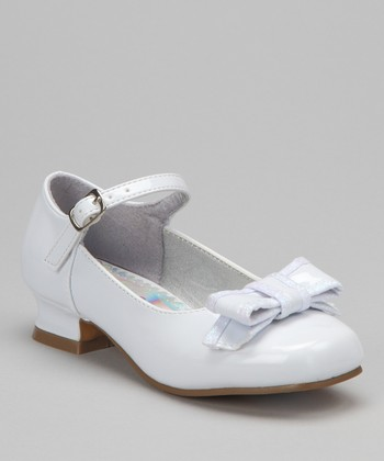 White Bow Patent Mary Jane