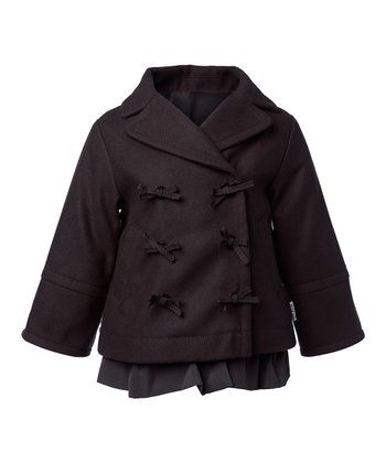 Brown After Dark Wool Bibbi Coat - Toddler & Girls