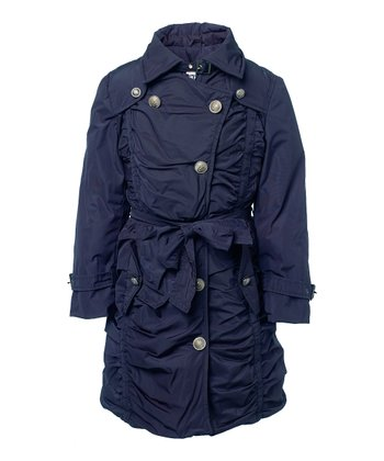 Dark Navy Brown-Lined Bodain Jacket - Toddler & Girls