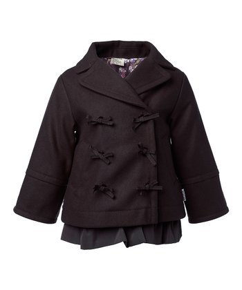 Brown After Dark Wool Bibbita Coat - Infant, Toddler & Girls