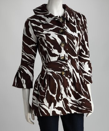 Brown Animal Three-Quarter Sleeve Coat - Women