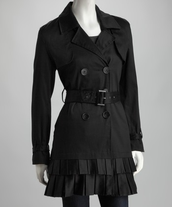 Black Pleated Trench Coat - Women