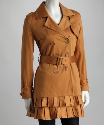 Camel Pleated Trench Coat - Women