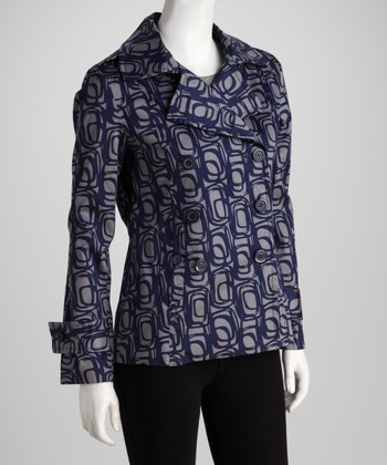 Gray & Blue Abstract Jacket - Women
