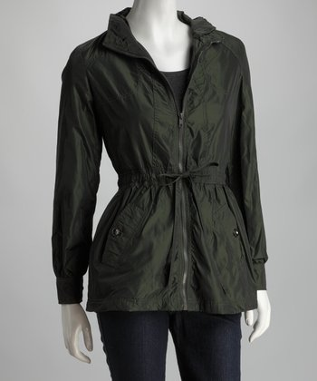 Green Garden Drawstring Zip-Up Raincoat - Women