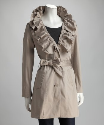 Cement Ruffle Trench Coat
