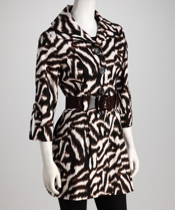 Brown Zebra Belted Jacket