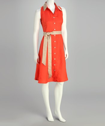 Guava Orange Shirt Dress
