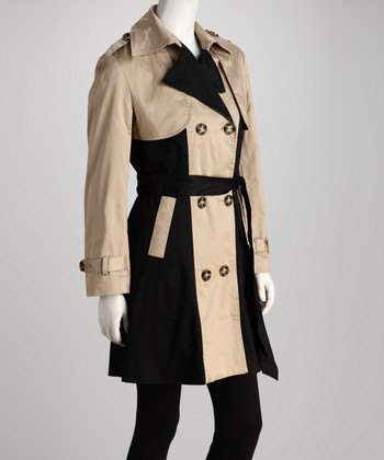 Khaki & Black Color Block Trench Coat - Women