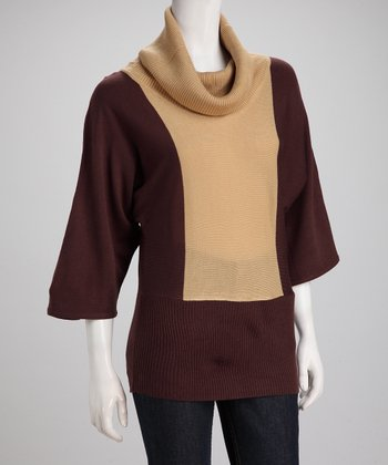 Camel Color Block Cowl Neck Sweater