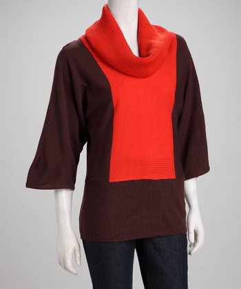 Orange Color Block Cowl Neck Sweater