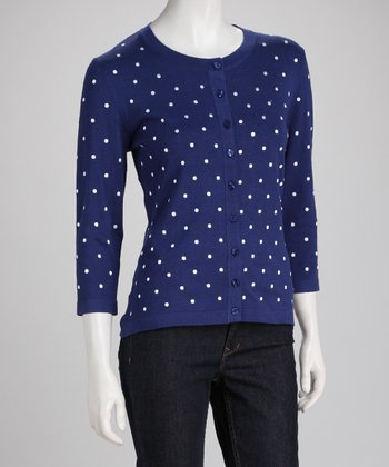 Navy Polka Dot Cardigan