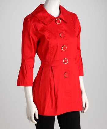 Vivid Scarlet Button Jacket