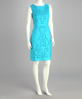 Endless Turquoise Eyelet Dress