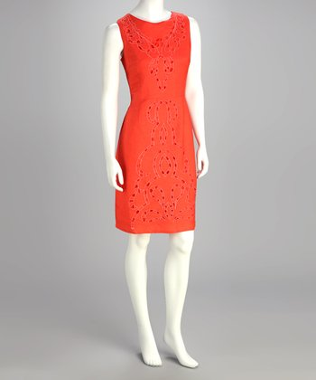 Guava Orange Eyelet Dress