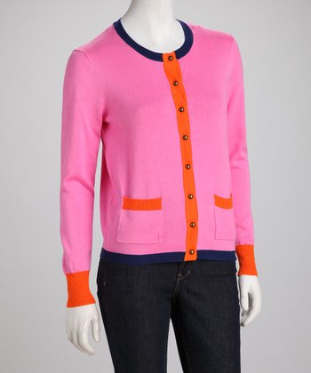 Passion Fruit Bright Color Block Cardigan