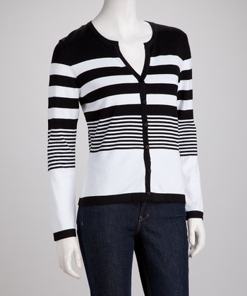 Black & White Stripe V-Neck Cardigan