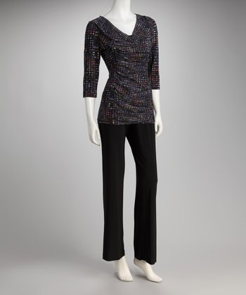 Royal Geometric Drape Top & Black Pants - Women