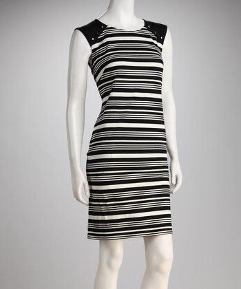 Black & Ivory Studded Stripe Dress