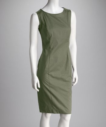 Olive Sheath Cutout Dress
