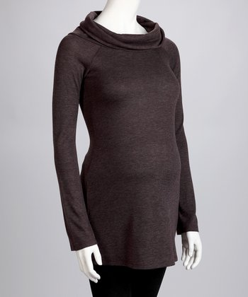 Heather Brown Maternity Cowl Neck Sweater