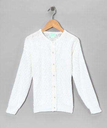 White Pointelle Cardigan - Girls