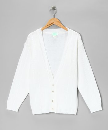 White Mini Cable-Knit Cardigan - Boys