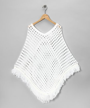 White Fringe Poncho - Girls