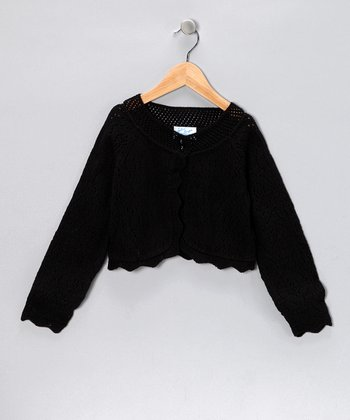 Black Knit Bolero - Girls