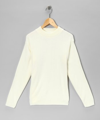 Julius Berger Ivory Mock Neck Top - Kids