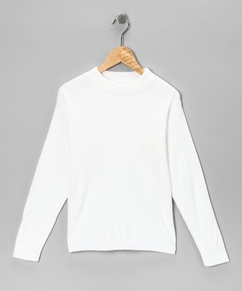 White Mock Neck Top - Kids