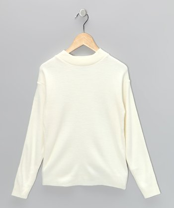Ivory Mock-Neck Pullover - Girls